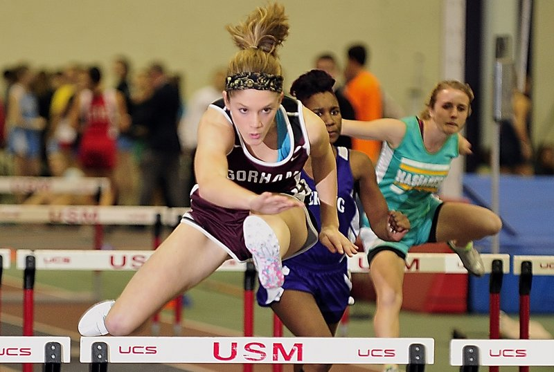 Sarah Perkins of Gorham captured the 55 hurdles at the Class A state meet, then added victories in the 200 and 400 to earn her award as the MVP in girls' indoor track.