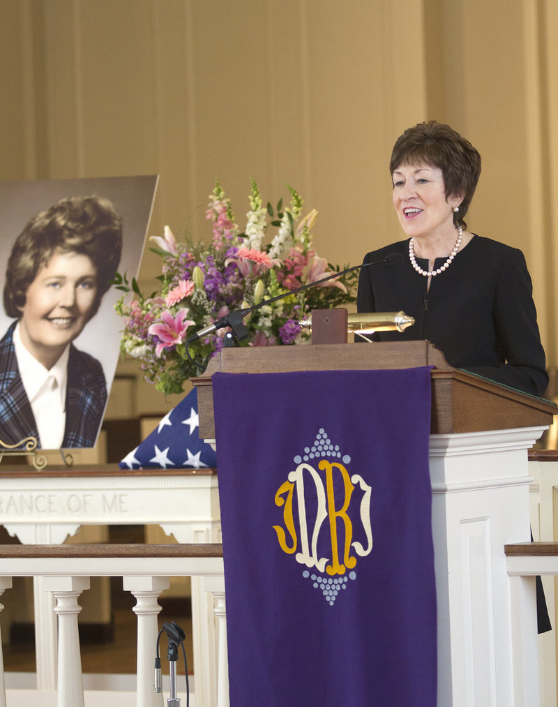 Sen. Susan Collins speaks at a memorial service Saturday celebrating the life of Hattie M. Bickmore, a popular Republican Party stalwart, at Woodfords Congregational Church in Portland. There were tears, but there was laughter too, as Bickmore was remembered for her wit, wisdom and wealth of friends.