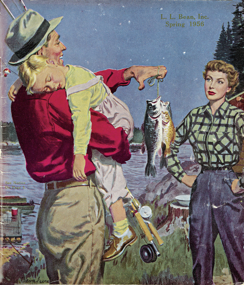 The L.L. Bean summer catalog arriving in mailboxes this week contains a modern twist on a classic catalog cover from spring 1956 (above), and a customer favorite. The modern interpretation (below) of the vintage cover, shot by acclaimed photographer Randal Ford in Acadia National Park, is the second of four that will appear during 2012. The covers being re-created date from the 1930s to the 1960s.