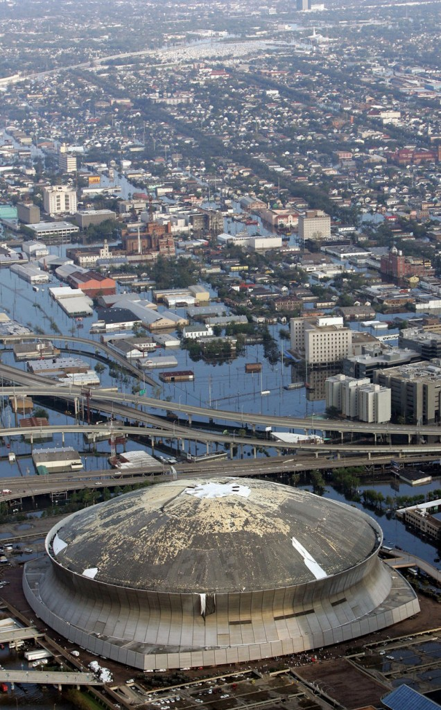 Just the beginning? After Hurricane Katrina, the Louisiana Superdome was surrounded by flood waters in 2005. A climate change study suggests events like Katrina may become more commonplace.