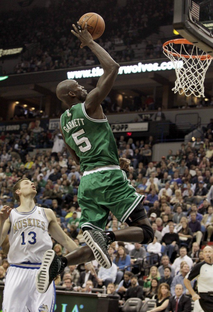 Kevin Garnett has been playing with a little extra spring in his step since he was moved to center.