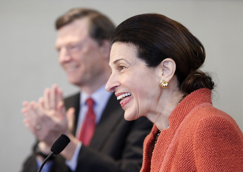 """U.S. Sen. Olympia Snowe, R-Maine, acknowledges applause at a news conference March 2 at which she announced that she had decided not to seek a fourth term. Last week, in a letter to donors to her now-dismantled campaign, Snowe said the money she raised may be used to support """"like-minded"""" candidates, a center to give """"a national voice"""" to the """"sensible center,"""" and an institute to promote Maine's female leaders."""
