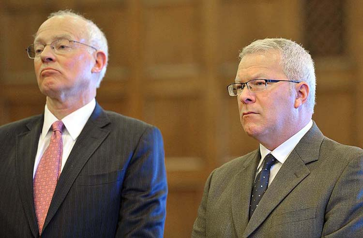 Paul Violette, right, former executive director of the Maine Turnpike Authority, listens as his sentence is read by Justice Roland Cole. At left is Peter DeTroy, Violette's attorney.