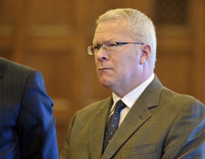 Paul Violette, former director of the Maine Turnpike Authority, listens to his sentence of seven years, with all but 3 1/2 years suspended, in court Friday.