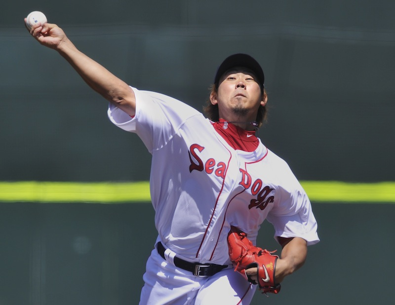 Boston pitcher Daisuke Matsuzaka pitched very well in a rehab assignment at Hadlock Field for the Portland Sea Dogs on Saturday, April 28, 2012.