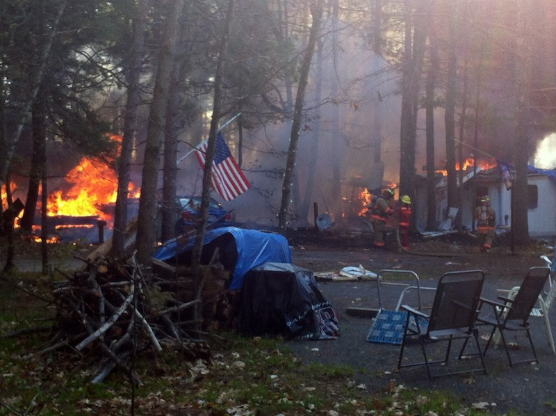 This photo from Saturday, April 28, shows a propane tank explosion and fire in Lebanon, which injured a husband and wife.
