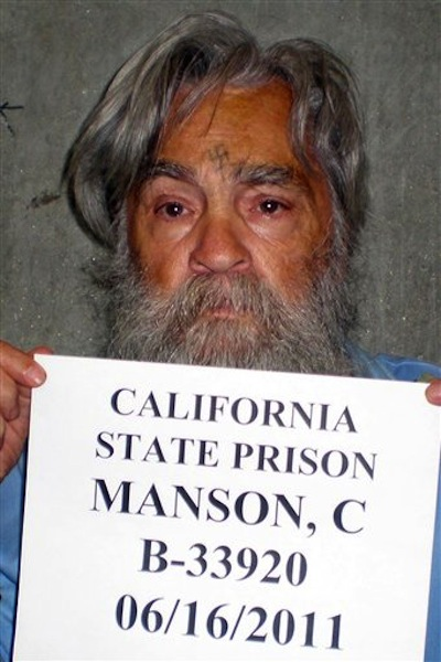 In this photo taken June 16, 2011 and provided by the California Department of Corrections, Charles Manson is seen in Corcoran, Calif. Manson is scheduled to have a parole hearing at Corcoran State Prison on Wednesday, April 11, 2012. (AP Photo/California Department of Corrections)