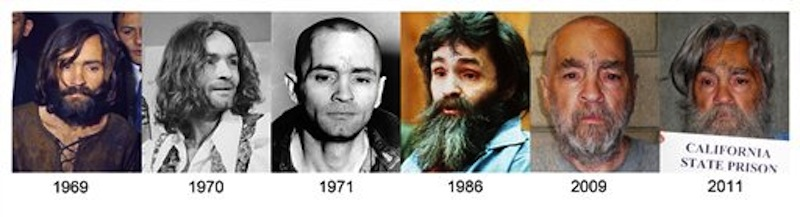 This combo of photographs shows how Charles Manson has looked over the years from 1969 up to the most recently released photo in 2011. Manson is scheduled to have a parole hearing at Corcoran State Prison on Weds., April 11, 2012. (AP Photo)