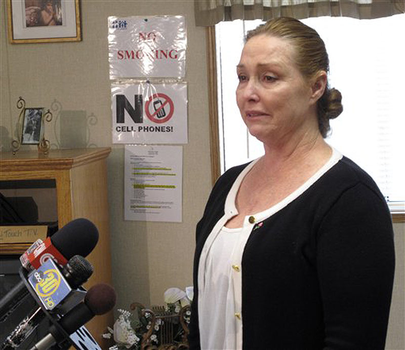 Debra Tate, sister of murdered actress Sharon Tate, speaks at a news conference after she testified at a parole hearing for Charles Manson at Corcoran State Prison in Corcoran, Calif., Wednesday, April 11, 2012. The panel denied parole for mass murderer Manson, 77, in his 12th and possibly final bid for freedom. Tate testified that Mason has shown no remorse for his crimes and should not be granted parole. (AP Photo/Tracie Cone)