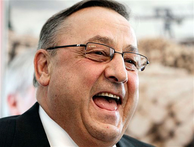 Maine Gov. Paul LePage smiles during a ceremony at the Blaine House in Augusta, Maine, on Wednesday, April 18, 2012. LePage signed three bills he said will help to improve Maine's business environment and open the door to jobs. (AP Photo/Pat Wellenbach)