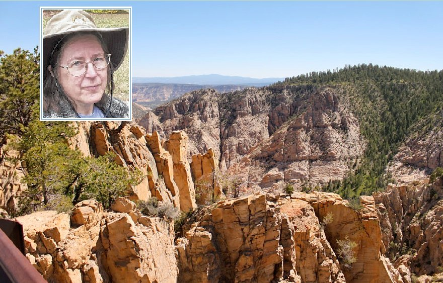 This photo of the Box Death Hollow Wilderness Area, which is part of the Dixie National Forest, shows the type of terrain that Victoria Grover, inset, encountered while hiking in Utah.