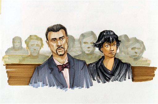 A courtroom sketch shows Jennifer Hudson right, and her fiance David Otunga looking on in the courtroom during the first day of William Balfour's murder trial at the Cook County Criminal Court in Chicago on Monday. Balfour is charged in the 2008 murder of Hudson's mother, brother and nephew.