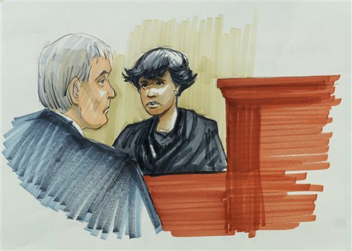 In this courtroom sketch, singer and actress Jennifer Hudson testifies Monday in Chicago at the murder trial of William Balfour, charged in the October 2008 killings of Hudson's mother, brother and nephew. Looking on is Cook County Judge Charles Burns.