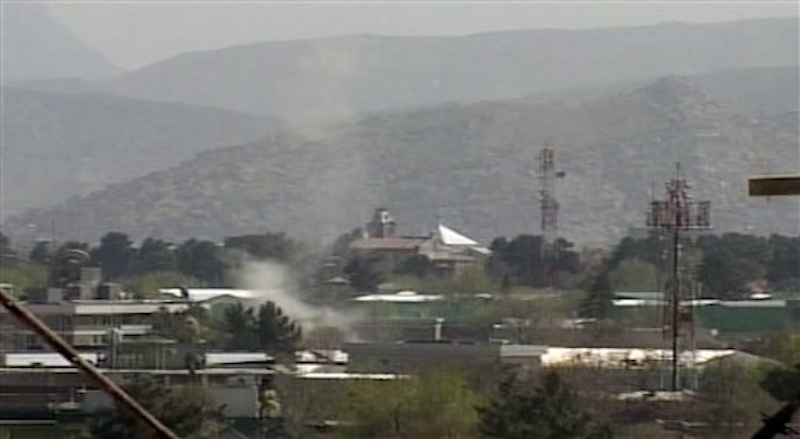 in this image taken from video, showing smoke rising from Kabul, Afghanistan, following attacks by Taliban militants Sunday April 15, 2012. Militants launched a series of coordinated attacks in the Afghan capital Sunday, with blasts and gunfire rocking three neighborhoods that are home to Afghan government buildings, Western embassies and NATO bases. (AP Photo/AP Video)