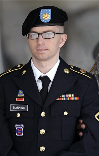 Army Pfc. Bradley Manning departs a courthouse in Fort Meade, Md., in this March 15, 2012, photo.