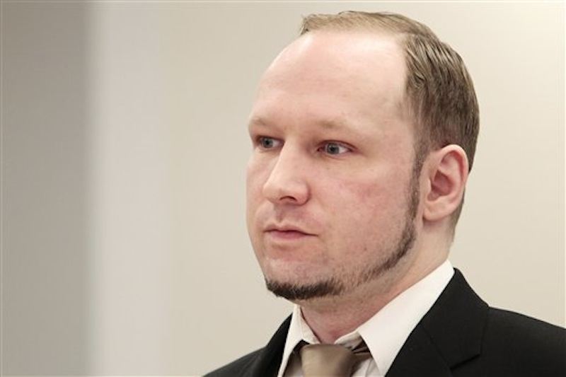 Accused Norwegian Anders Behring Breivik sits in the courtroom, in Oslo, Norway, Tuesday April 17, 2012. (AP Photo/Hakon Mosvold Larsen/Scanpix Norway)