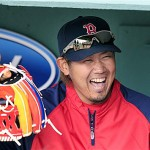 Boston Red Sox pitcher Daisuke Matsuzaka laughs in the dugout prior to a game against the Texas Rangers at Fenway Park last week.