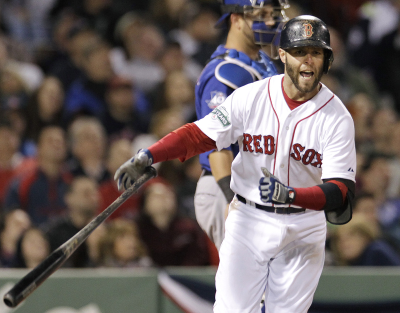 Dustin Pedroia reacts after popping up and leaving two men on during the fifth inning of Wednesday night's game between the Boston Red Sox and the Texas Rangers at Fenway Park. The Red Sox lost, 6-3.