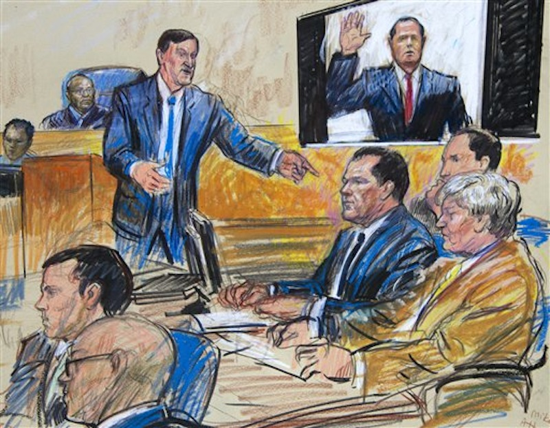 An artist rendition shows former Major League Baseball pitcher Roger Clemens, third from right, and his lawyers Rusty Hardin, right, and and Michael Attanasio listening as prosecutor Steven Durham delivers his opening statement as U.S. District Judge Reggie Walton, back left, listens Monday, April 23, 2012, in Washington. (AP Photo/Dana Verkouteren)