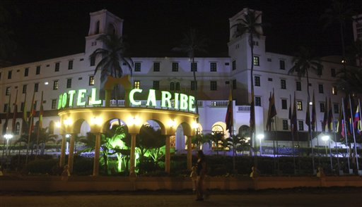 People walk past Hotel El Caribe in Cartagena, Colombia, where Secret Service agents doing advance work for a presidential visit hired prostitutes.