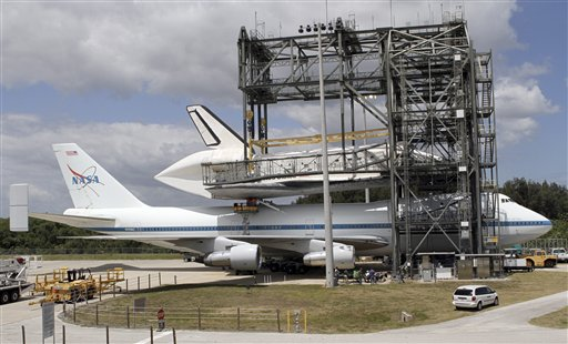 NASA, workers attach space shuttle Discovery to the Shuttle Carrier Aircraft in the mate-demate device at the Kennedy Space Center in Cape Canaveral, Fla., on Sunday.