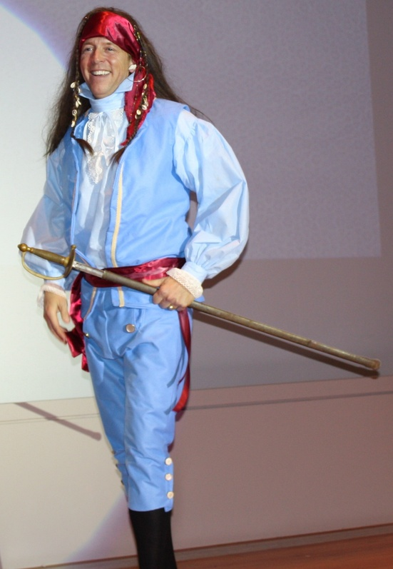 Portland Realtor John Hatcher, modeling a pirate costume created by Barbara Kelly at last year's fashion show.