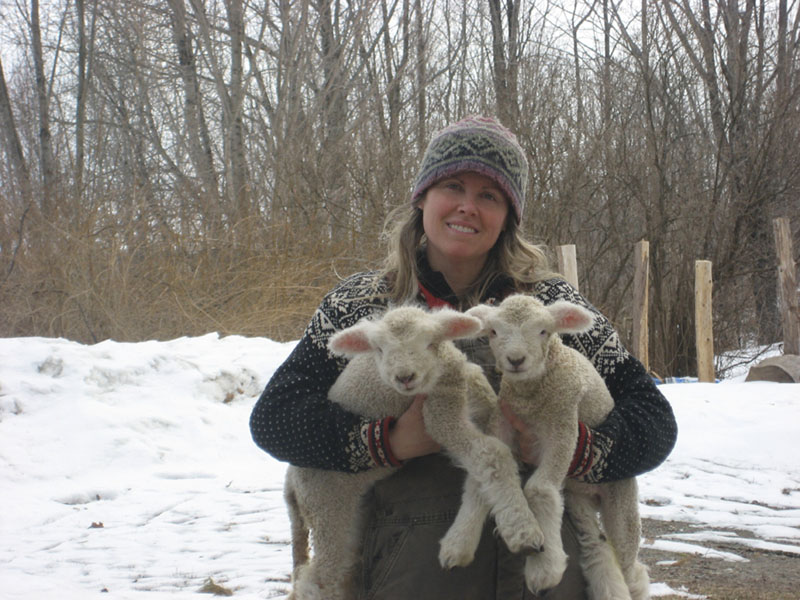 Mary Perry, holding a pair of ewes at the Winterberry farm in Belgrade, hopes the Forever Farm Program can help preserve the farm.