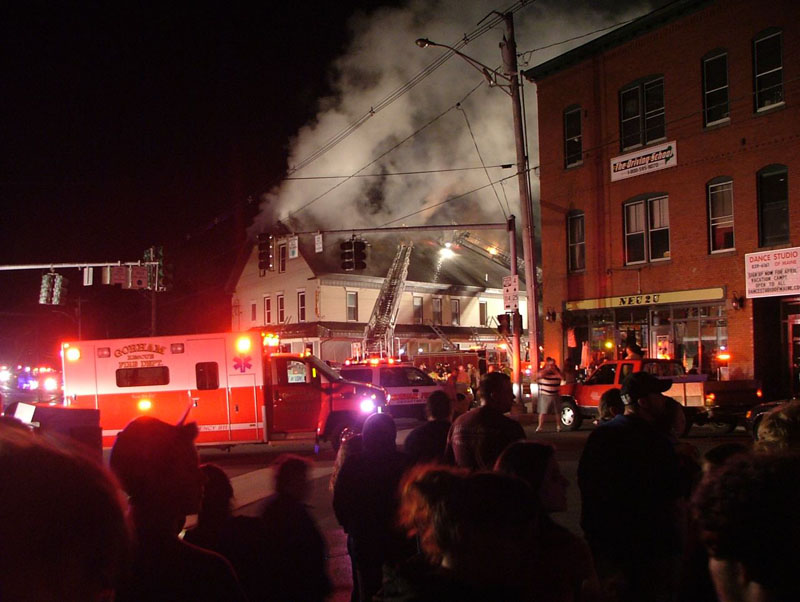 The scene at last night's fire at the Gorham House of Pizza.