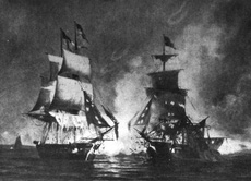 An engraving of the battle between the USS Enterprise and HMS Boxer in 1813 off of the coast of Maine.
