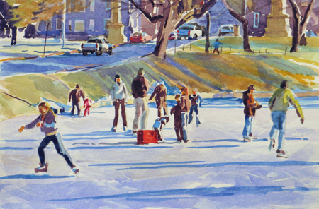 """""""Skating at the Oaks,"""" a watercolor by Marsha Donahue, from The Portland Show, continuing through April 27 at Greenhut Galleries in Portland. A reception for the participating artists will be held from 5 to 7 p.m. on Thursday."""