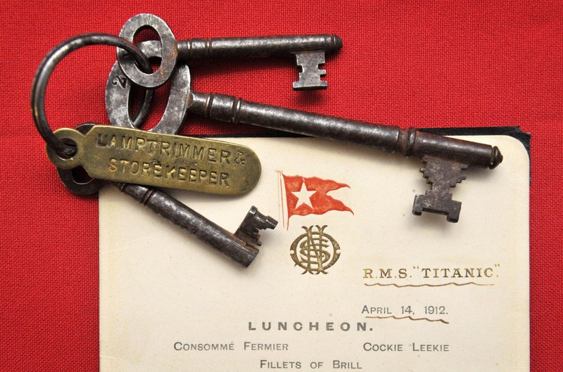 This photo shows a lunch menu given to first class passengers on the day of the sinking of the Titanic and a set of keys used by Titanic crewman Samuel Hemming to unlock the door where the lifeboat lanterns were held after he was ordered by the ship's captain to ensure that all 15 lifeboats had lit oil lamps. The two items sold for a total of $214,000 at an auction of Titanic memorabilia at Henry Aldridge and Son in Devizes, England, to commemorate the centenary of the ship's completion.