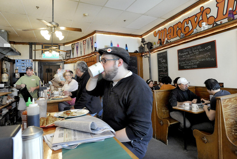 John Blanchette of Portland enjoys a recent breakfast at Marcy's Diner in Portland.