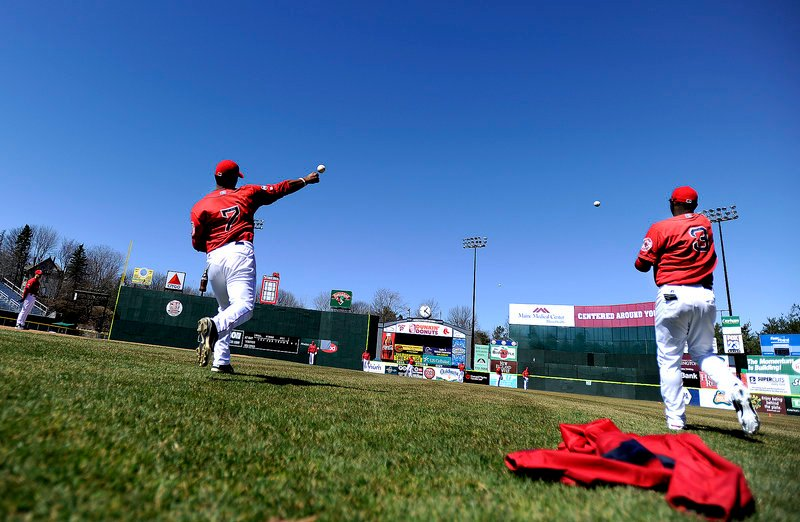 Heiker Meneses, left, Oscar Tejeda and the rest of the Portland Sea Dogs worked out Tuesday at Hadlock Field for the first time this season, preparing for a doubleheader opener Thursday at Reading. The home opener will be April 12.