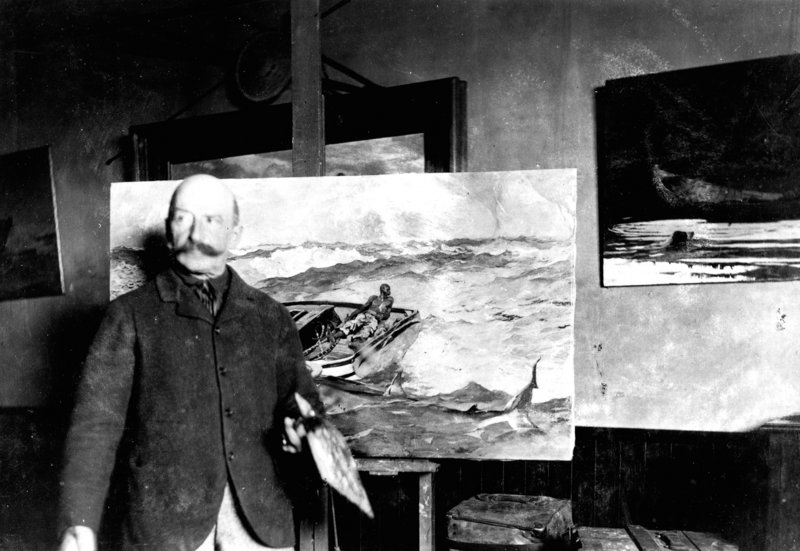 "An albumen print from around 1900 titled ""Winslow Homer with 'The Gulf Stream' in his painting room at Prouts Neck,"" by an unknown photographer, shows the Maine studio where the artist created some of the most iconic images in American art history."