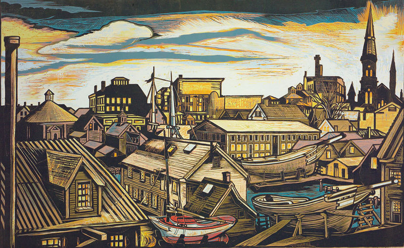 """""""Sharpshooters at Twilight: Vincents Cove,"""" reduction woodcut by Don Gorvett."""