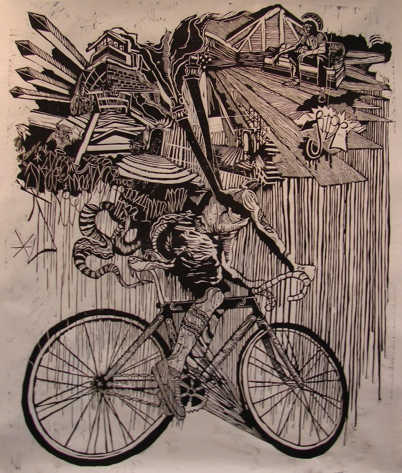 """""""Can't Stop, Won't Stop,"""" woodcut by Kyle Bryant."""