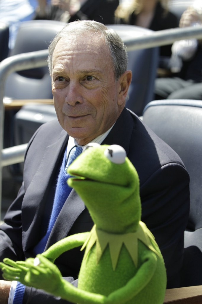 Kermit the Frog takes in a game with New York Mayor Michael Bloomberg at Yankee Stadium on Friday.