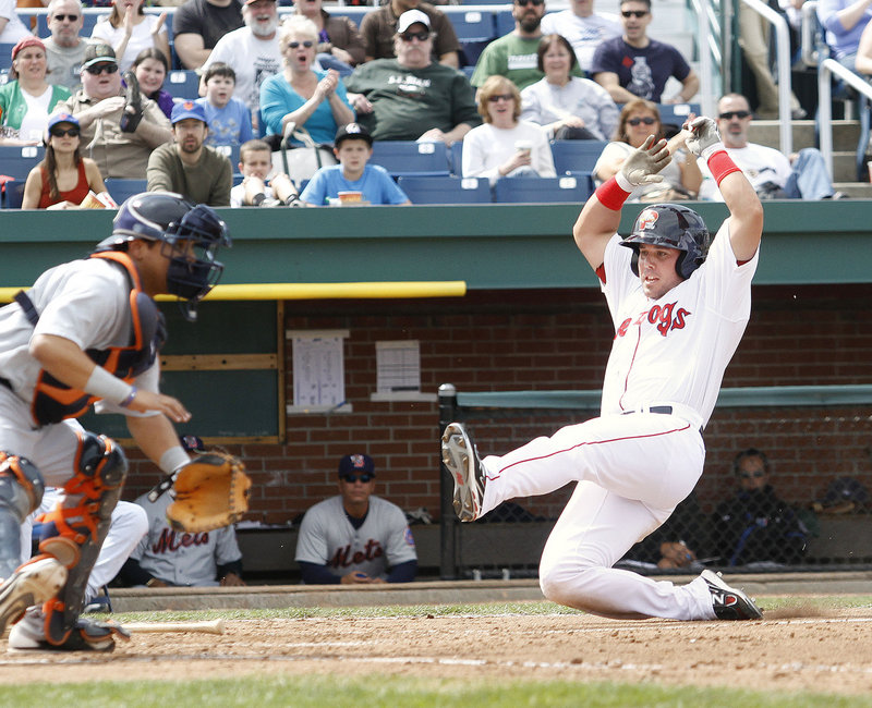 Juan Carlos Linares scores in the fourth inning for the Portland Sea Dogs in Saturday's win at Hadlock Field.