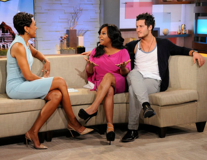"""""""Good Morning America"""" host Robin Roberts, left, speaks Wednesday with TV personality Sherri Shepherd and dance partner Val Chmerkovskiy after they were eliminated from """"Dancing with the Stars."""""""