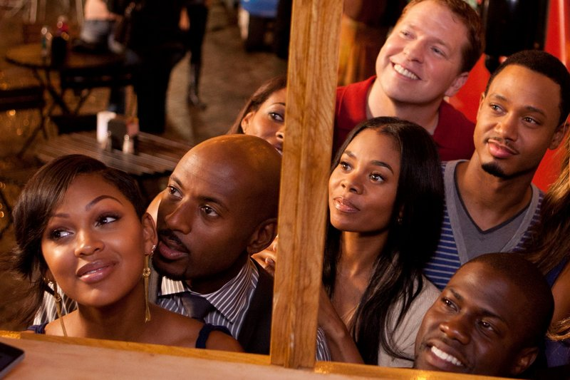 "Mya (Meagan Good), Zeke (Romany Malco), Candace (Regina Hall), Bennett (Gary Owen), Michael (Terrence J), and Cedric (Kevin Hart) in ""Think Like a Man."""