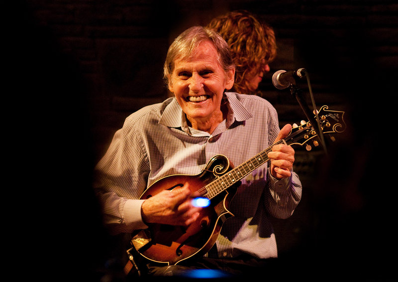 """Levon Helm performs on the mandolin in 2010 at his barn in Woodstock, N.Y. While in The Band, he sang the hits """"Up On Cripple Creek"""" and """"The Night They Drove Old Dixie Down."""""""