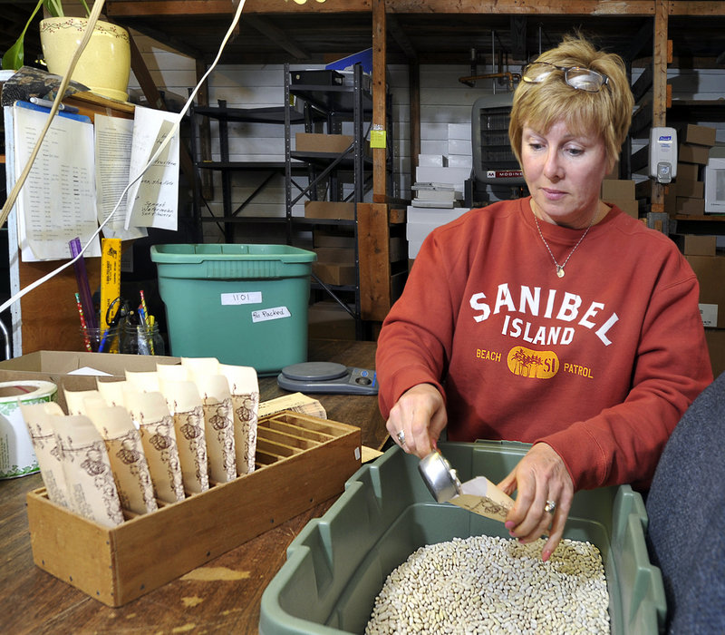 """Marybeth Dunham, an employee at Pinetree Garden Seeds in New Gloucester, fills envelopes with seeds for """"Slenderette Beans"""" for shipping."""