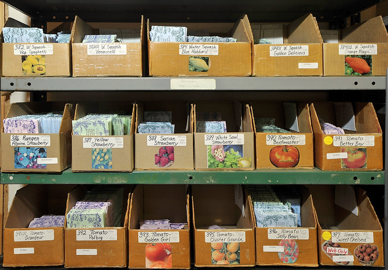 Bins of some of the 1,100 vegetable and flower seed varieties sold by Pinetree.