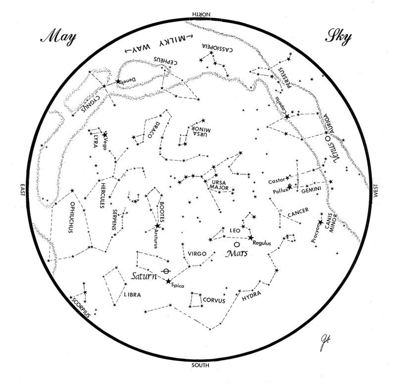 Sky Guide: This chart represents the sky as it appears over Maine during May. The stars are shown as they appear at 10:30 p.m. early in the month, at 9:30 p.m. at midmonth, and at 8:30 p.m. at month's end. Saturn, Mars and Venus are shown in their midmonth positions. To use the map, hold it vertically and turn it so that the direction you are facing is at the bottom.