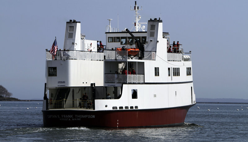 The new ferry makes its maiden voyage to Vinalhaven Island as it leaves Rockland.