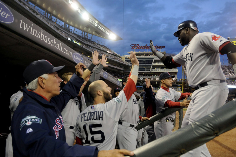 David Ortiz continued his torrid April for the Red Sox, hitting a two-run homer in the third inning Tuesday night. Boston defeated the Minnesota Twins, 11-2.