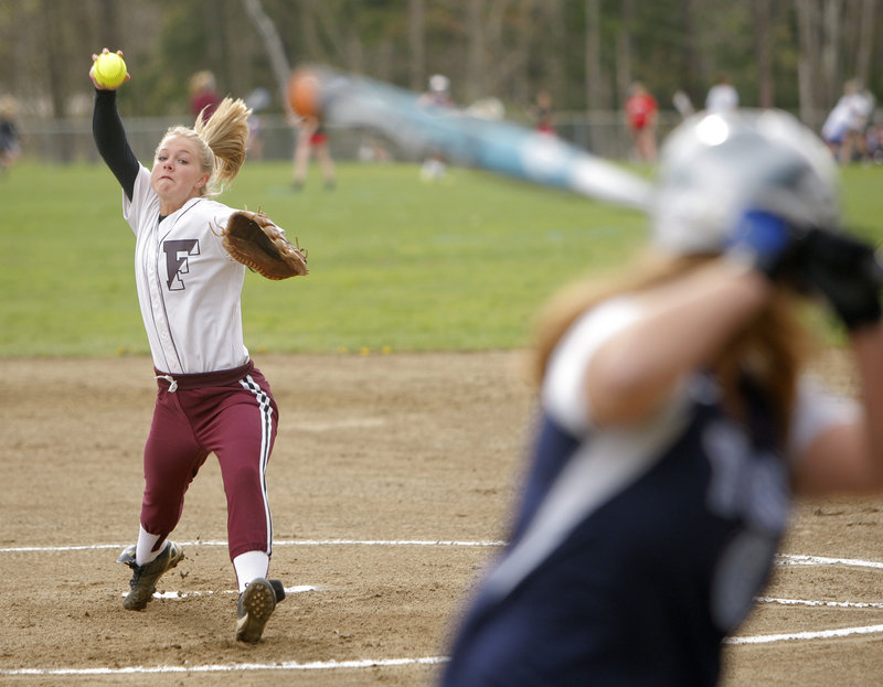 Freeport pitcher Leigh Wyman was tough to hit Wednesday, allowing one hit in five innings in a 14-0 victory against York. Wyman struck out seven and walked one, and went 3 for 3 at the plate with an RBI.
