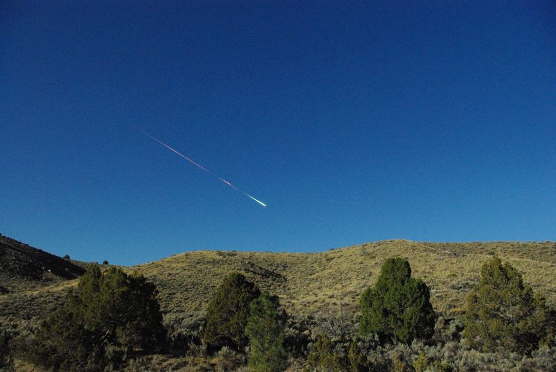 An image from NASA's Jet Propulsion Laboratory shows a meteor passing Sunday over Reno. Scientists estimate that it exploded with one-third the force of the Hiroshima bomb.