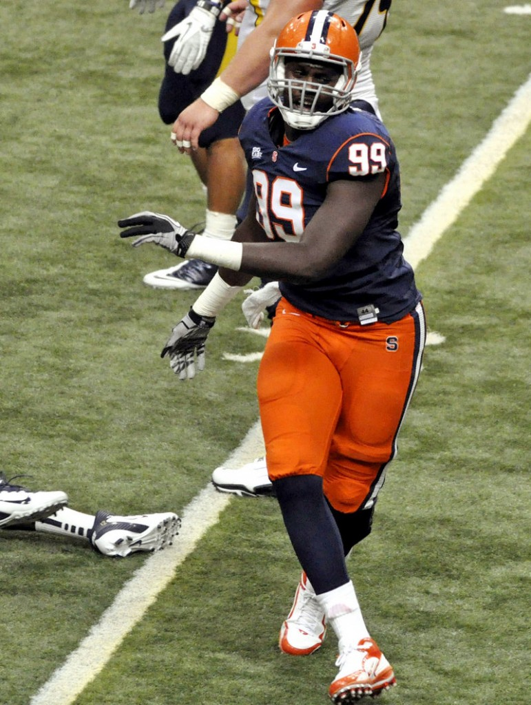 Chandler Jones of Syracuse hopes to continue celebrating sacks, this time with the New England Patriots. The defensive end was selected in the first round with the 21st pick overall.