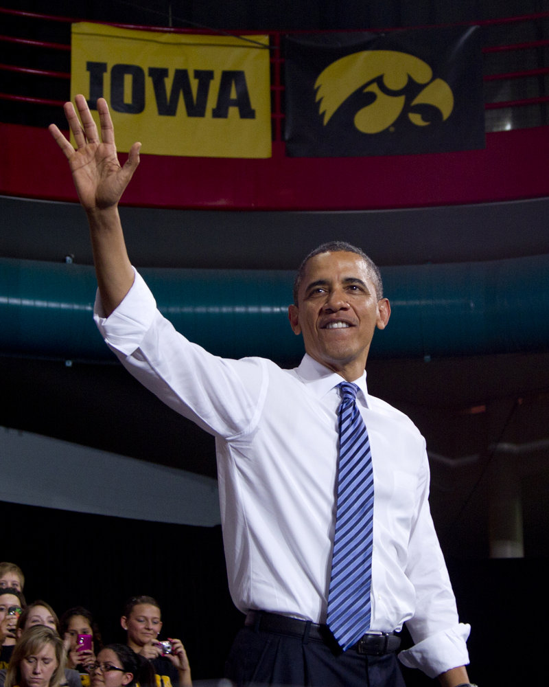 "President Obama waves to the crowd Wednesday after speaking at the University of Iowa in Iowa City. Re-electing Obama ""would change the nation ... into just another depressed welfare state where the government runs everything,"" according to a reader."